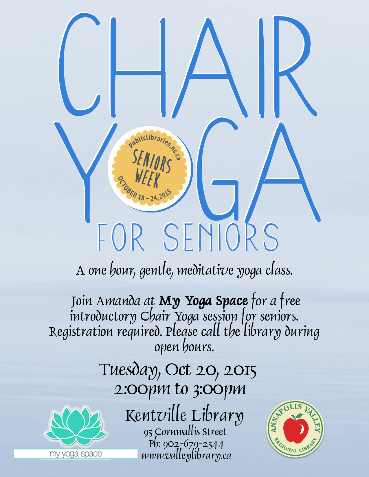 Chair yoga for seniors - Chair Yoga For Seniors At My Yoga Space Kentville October 20 2015 2pm
