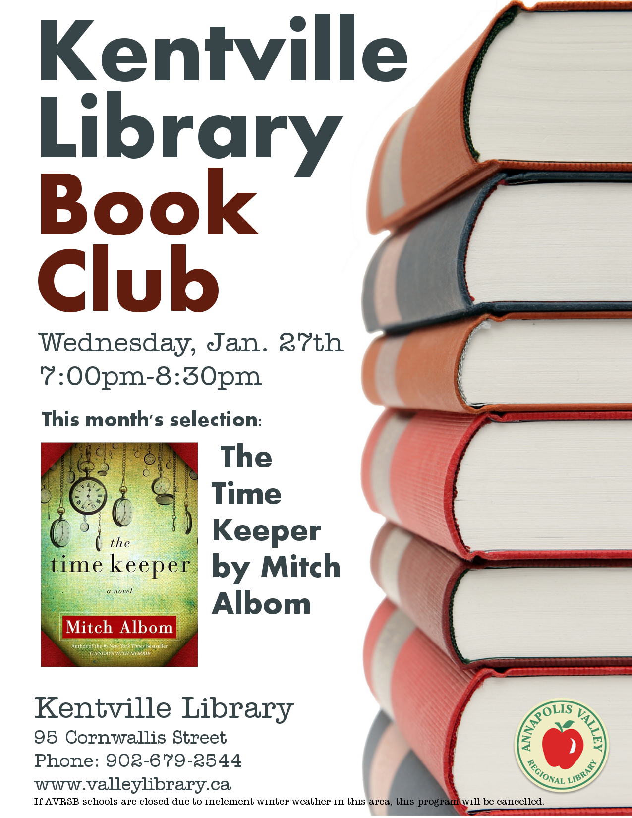 Knitting Club Flyer : Library book club at kentville january  pm