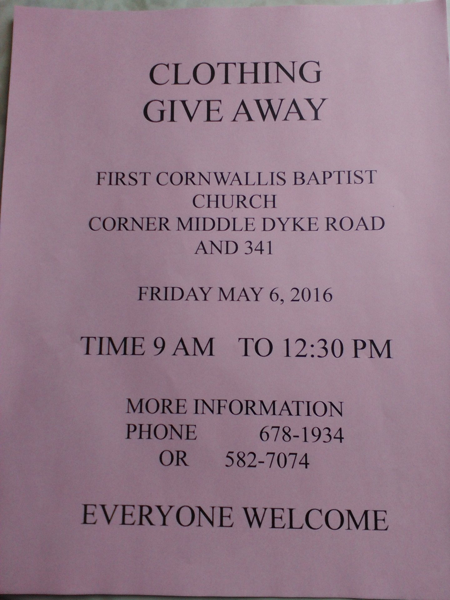 Free Clothing Giveaway At First Cornwallis Baptist Church Upper
