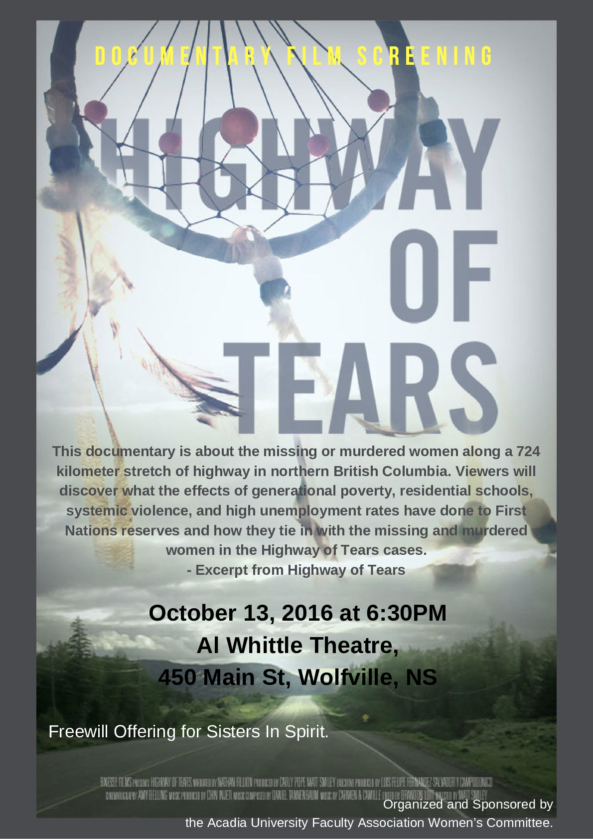 highway of tears documentary at al whittle theatre