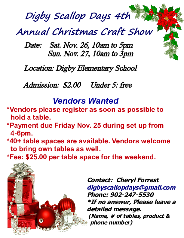 Yahoo Driving Directions Google >> Christmas Craft Show at Elementary School, Digby (November 26, 2016 10am)