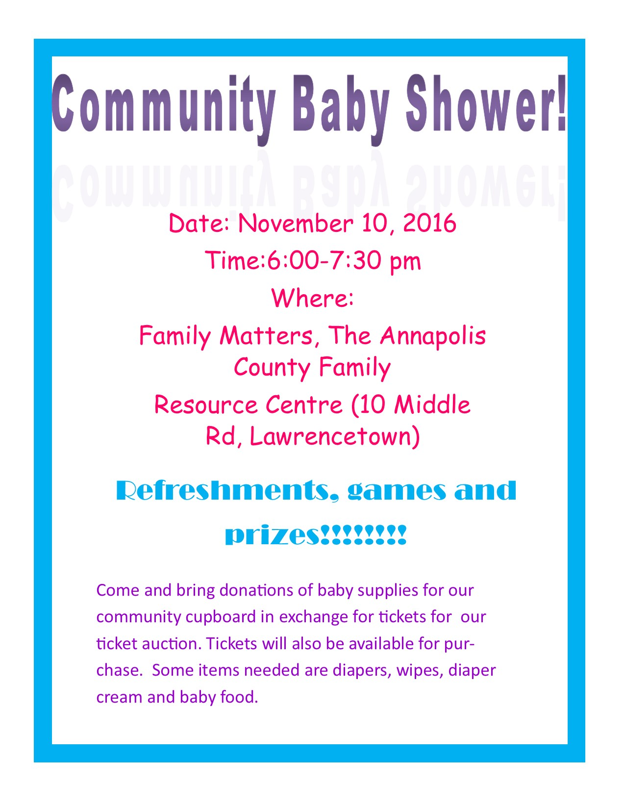 munity Baby Shower Fundraiser at Family Matters Resource Centre
