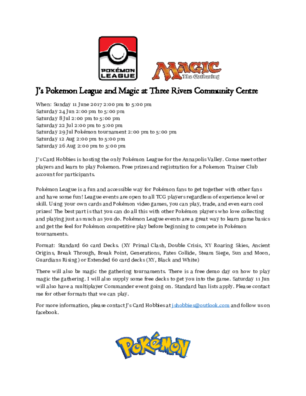 Pokemon League Trading Card Game at Three Rivers Community