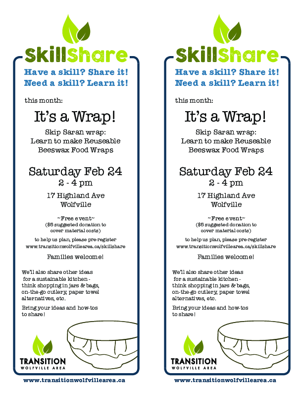 Skillshare  Beeswax Food Wraps at HillHouse, Wolfville, NS