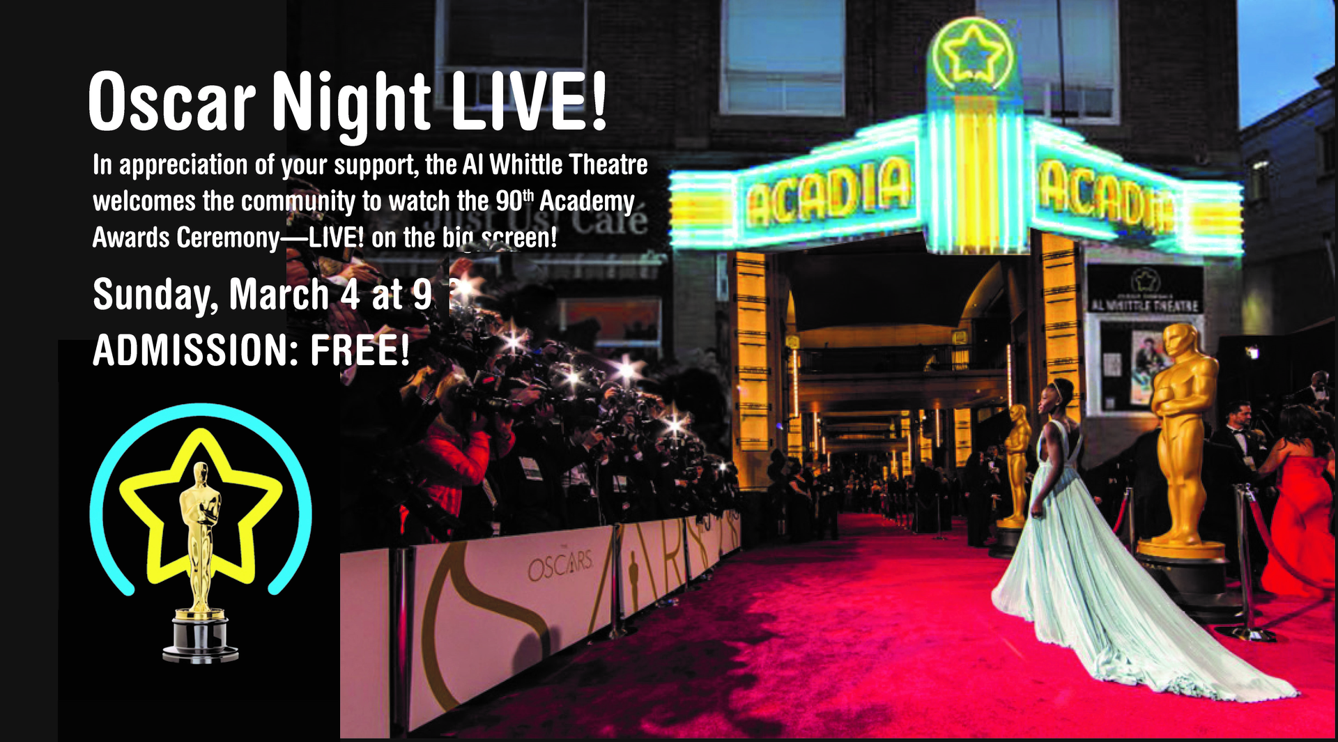 Academy Awards Ceremony at Al Whittle Theatre, Wolfville ...