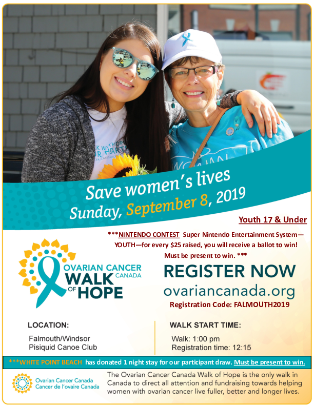 Ovarian Cancer Walk of Hope at Pisiquid Canoe Club, Windsor